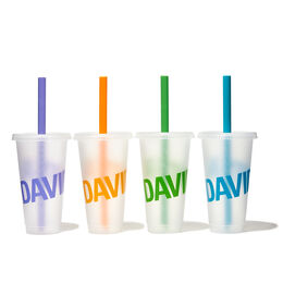 Bubble Tea Cups 24 oz with straws (set of 4)