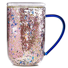 Double Walled Glass Nordic Mug Moon & Stars Confetti