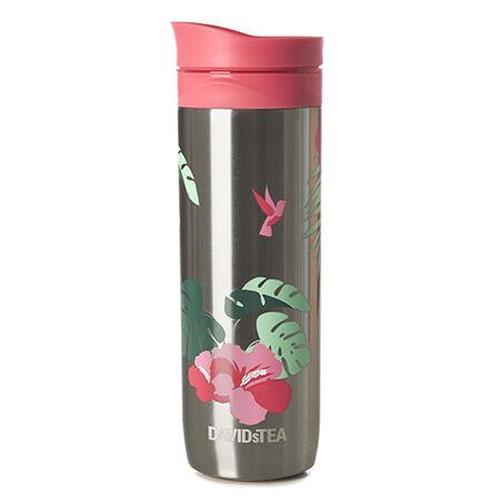 Tasse à piston à motif d'hibiscus