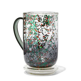 Double Walled Glass Nordic Mug Bats and Witch Hats Confetti