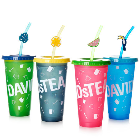 Colour Changing Cold Cups with Straw Toppers - Set of 4