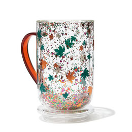 Double Walled Glass Nordic Mug Leaves Confetti