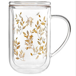 Double Walled Nordic Mug Glass Leaf Gold