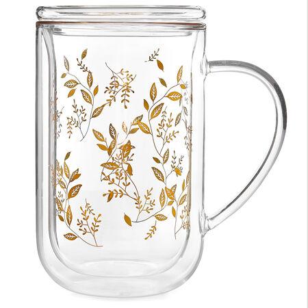 Gold Leaf Double Walled Nordic Mug Glass