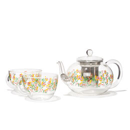 Clear Glass Teapot & 2 Cups Set Camellia
