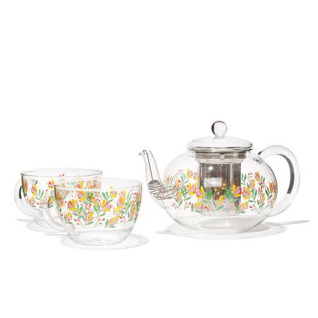 Théière et 2 tasses Camellia en verre transparent