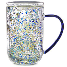 Double Walled Glass Nordic Mug Winter Wonderland Confetti
