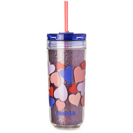 Favourite Tumbler Tritan Hearts Glitter Purple
