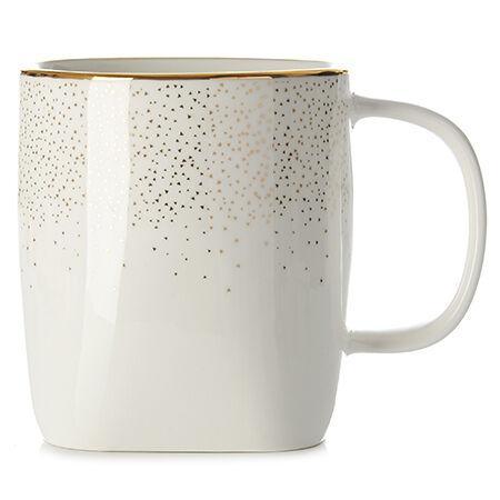 White Sparkling Square Mug