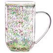 Tasse nordic en verre à confetti de fleurs