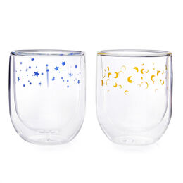 Double Walled Glass Cup Moon & Stars (set of 2)