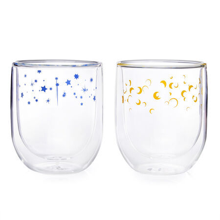 Moon & Stars Double Walled Glass Cup (set of 2)