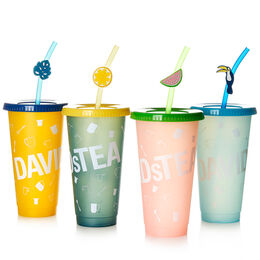 Colour Changing Cold Cups (set of 4) with straw topper