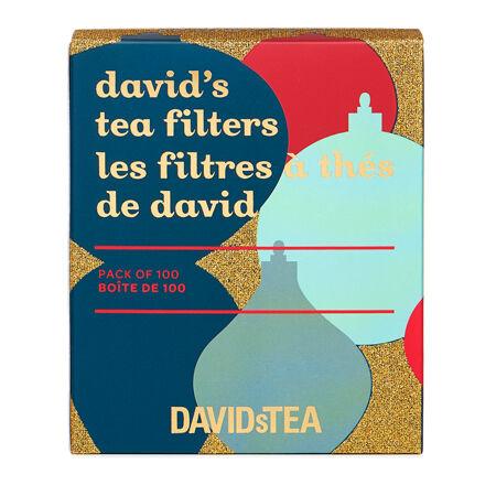 boîte de 100 filtres à thé de david à boules de Noël