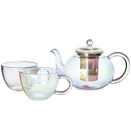 Opalescent Glass Teapot & 2 Cups