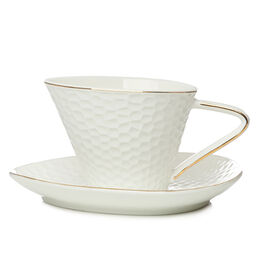 Dimpled Ceramic Cup With Saucer White and Gold