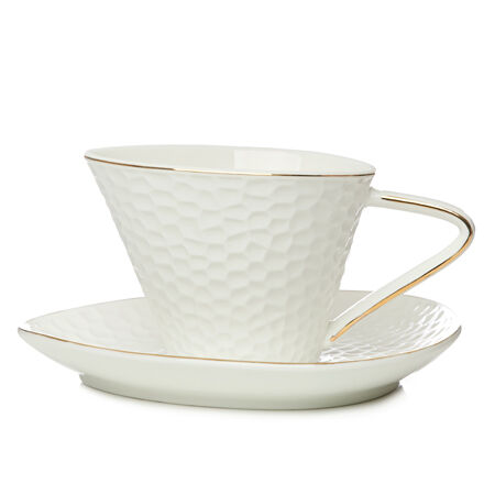 White & Gold Dimpled Ceramic Cup with Saucer