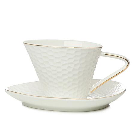 Tasse en céramique Ondulation blanc et or avec soucoupe