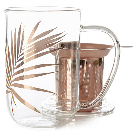 Rose Gold Leaf Glass Nordic Mug