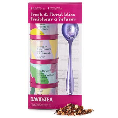Ensemble-cadeau de miniboîtes de thé avec cuillère Frais et floraux