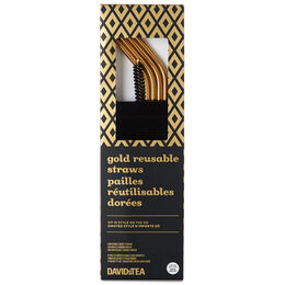 Reusable SS straw & brush set Gold