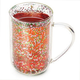 Double Walled Glass Nordic Mug Floral Confetti