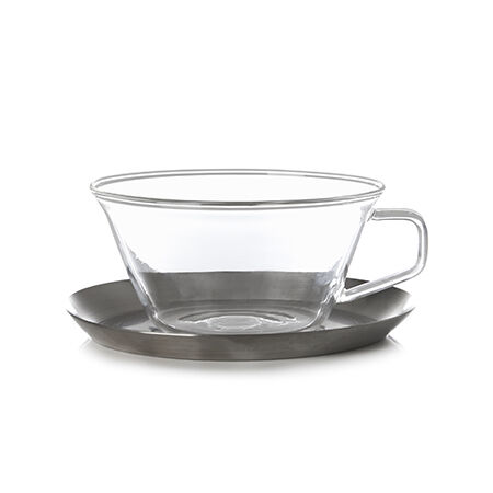 Kinto Cast Glass Teacup & Saucer