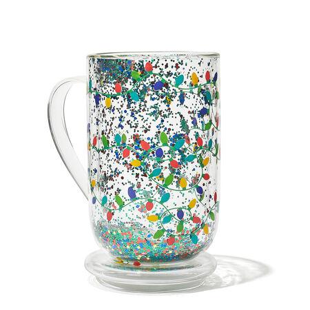 Tasse nordic en verre à confettis de lumières