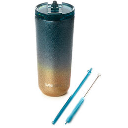 Favourite Tumbler Two Tone Glitter Teal & Gold