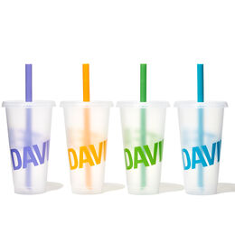 Bubble Tea Cups 32 oz with straws (set of 4)