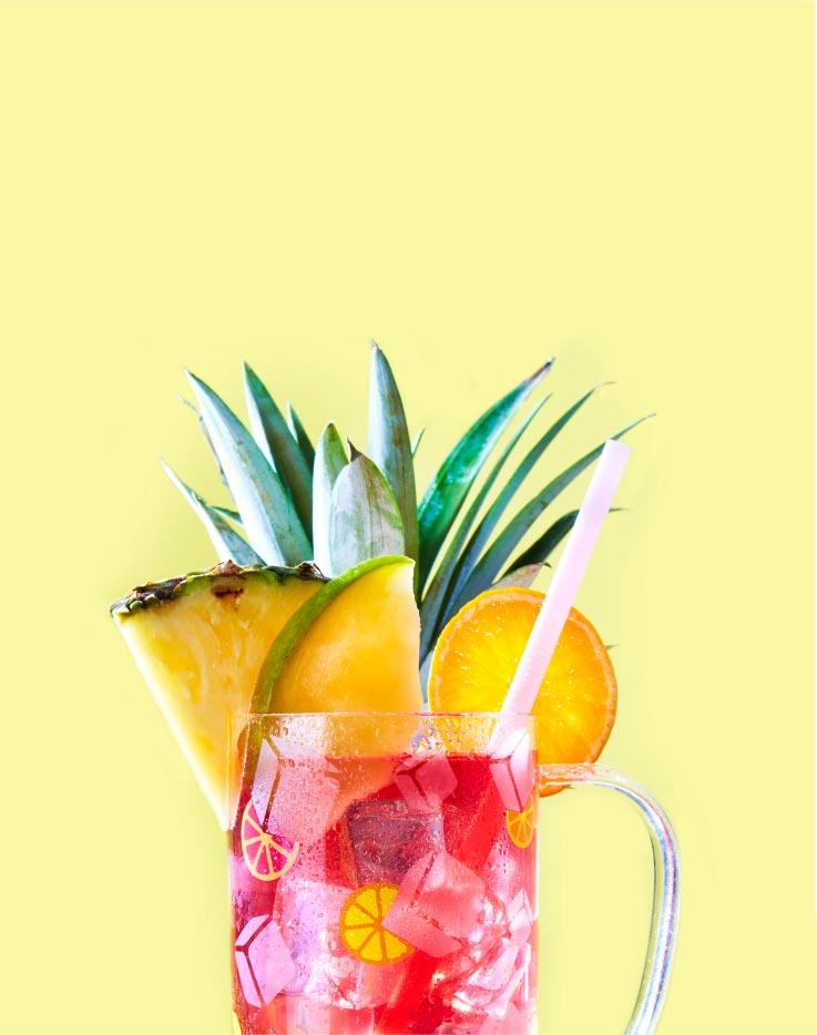Sparkling Sangria iced tea in the On the Rocks Glass Nordic Mug
