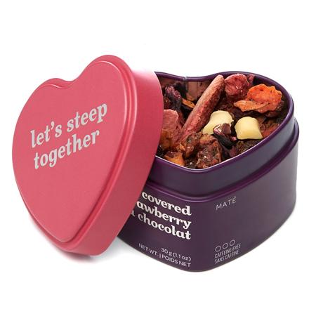 DAVIDsTEA Mate Tea Chocolate Covered Strawberry Heart Shaped Tin