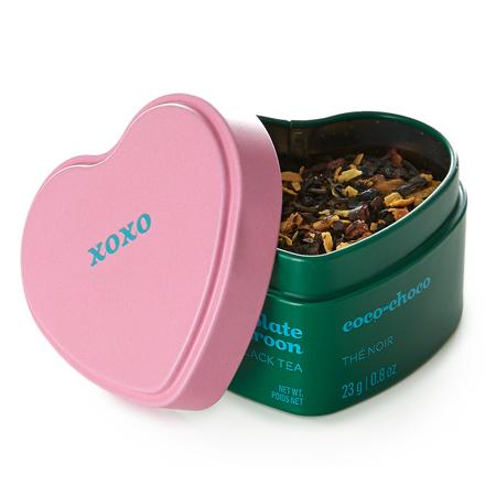 DAVIDsTEA Black Tea Chocolate Macaroon Heart Shaped Tin
