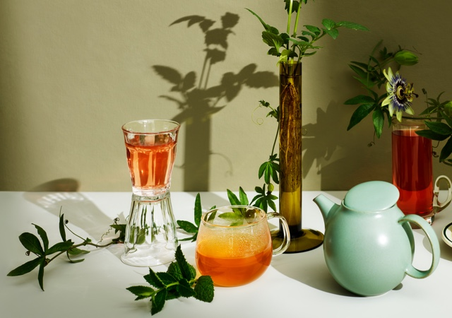 Various teas in different glasses next to a teapot and plants on an olive backdrop.