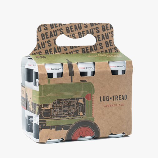 Pack of six cans of Lug Tread beer by Beau's Brewery.