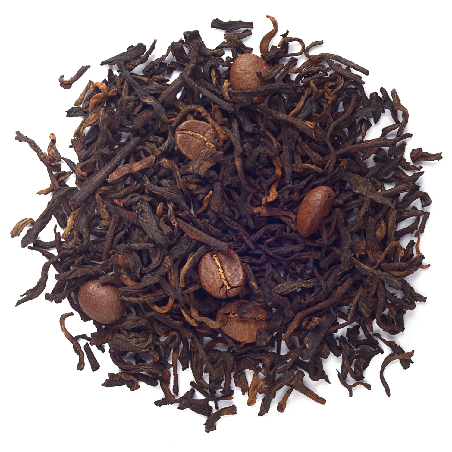 Splash of loose leaf pu'erh tea.