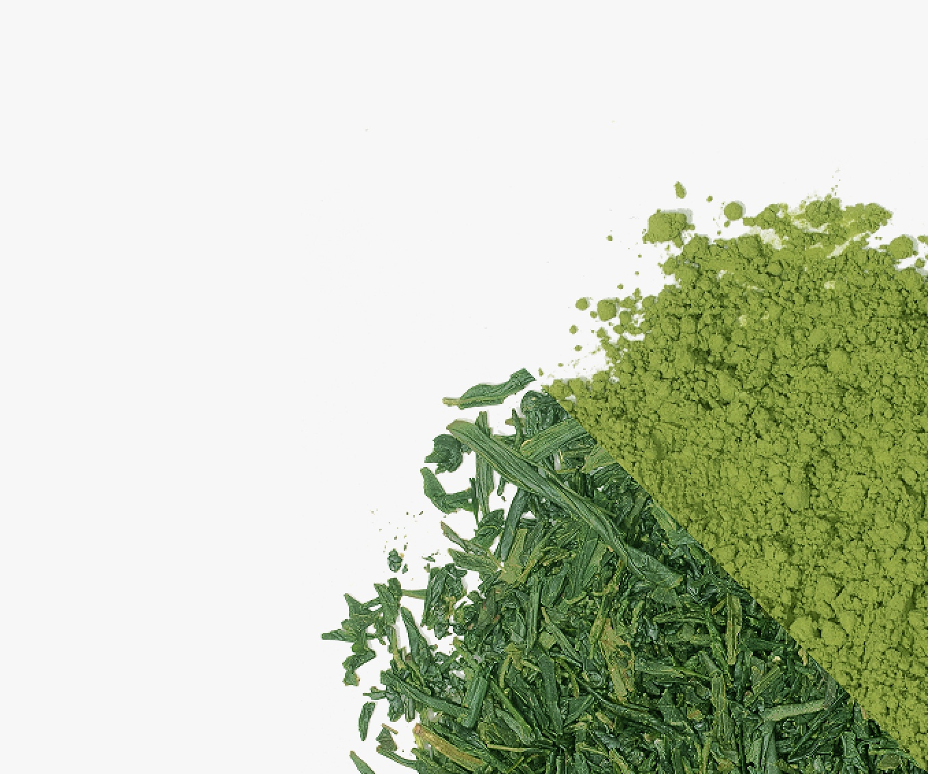 Matcha powder and matcha leaves next to each other.