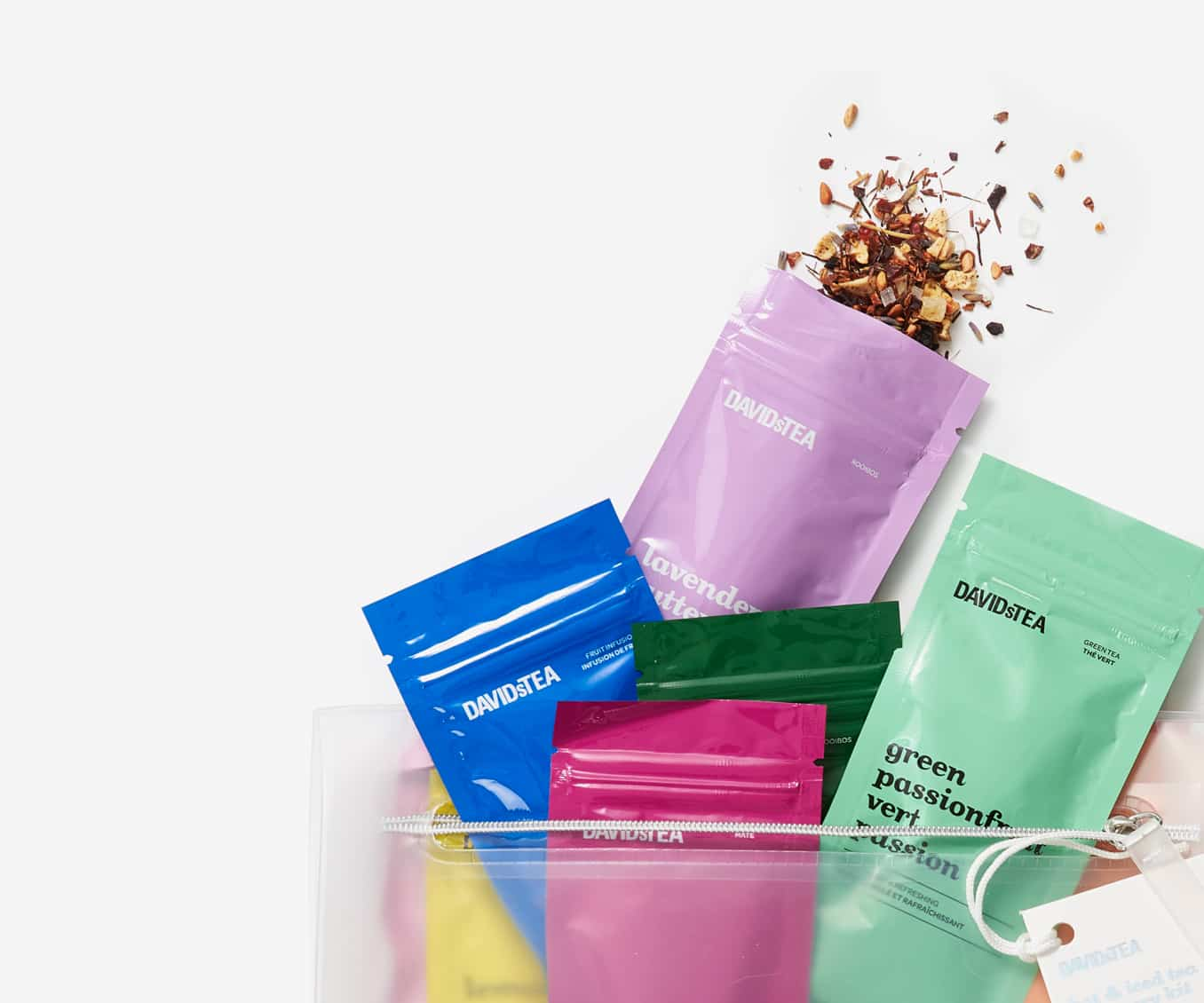 Shop Hot & Iced Tea Discovery Kit travel pouch filled with 12 loose leaf teas and infusions.
