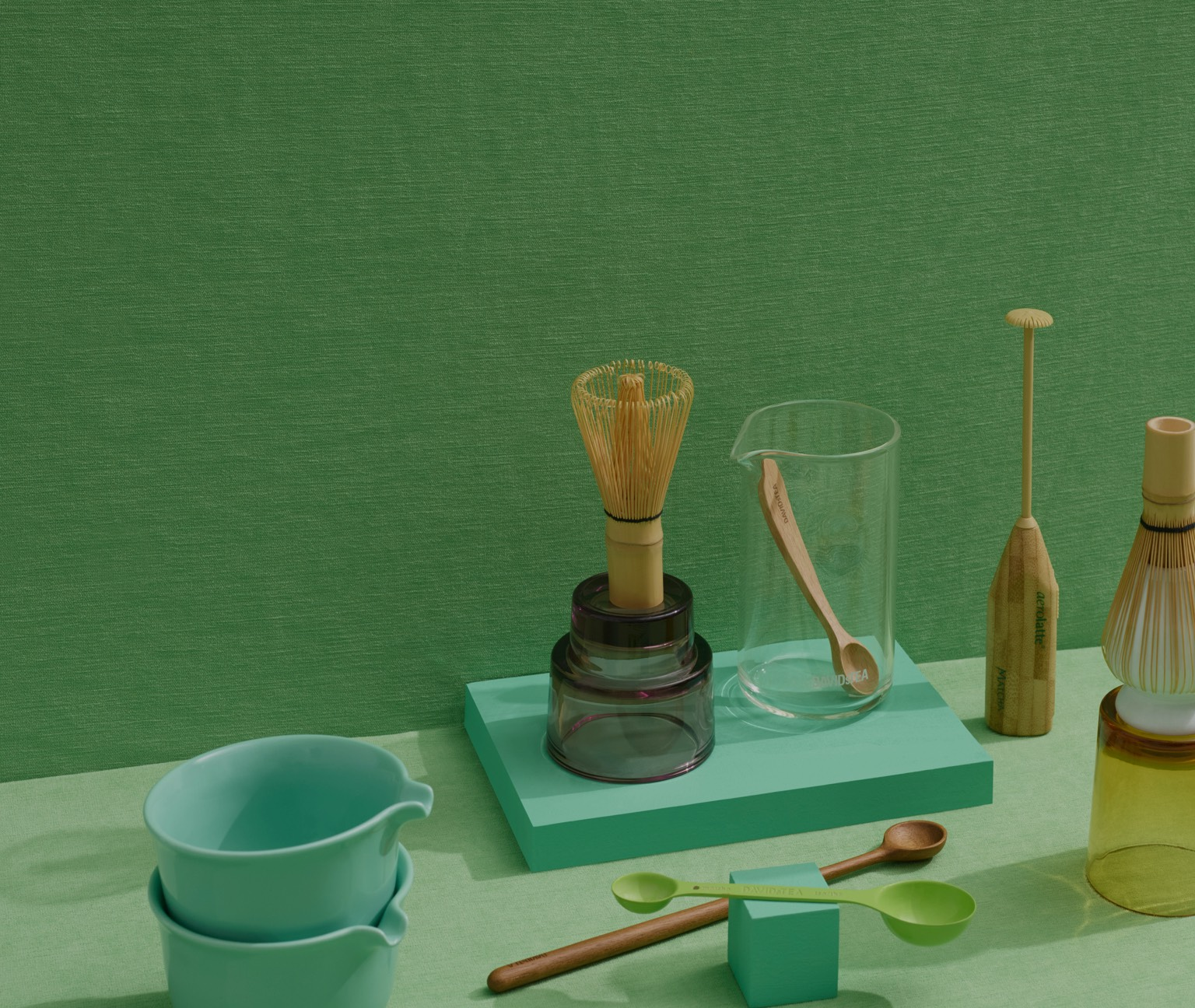 Matcha-making accessories grouped together.