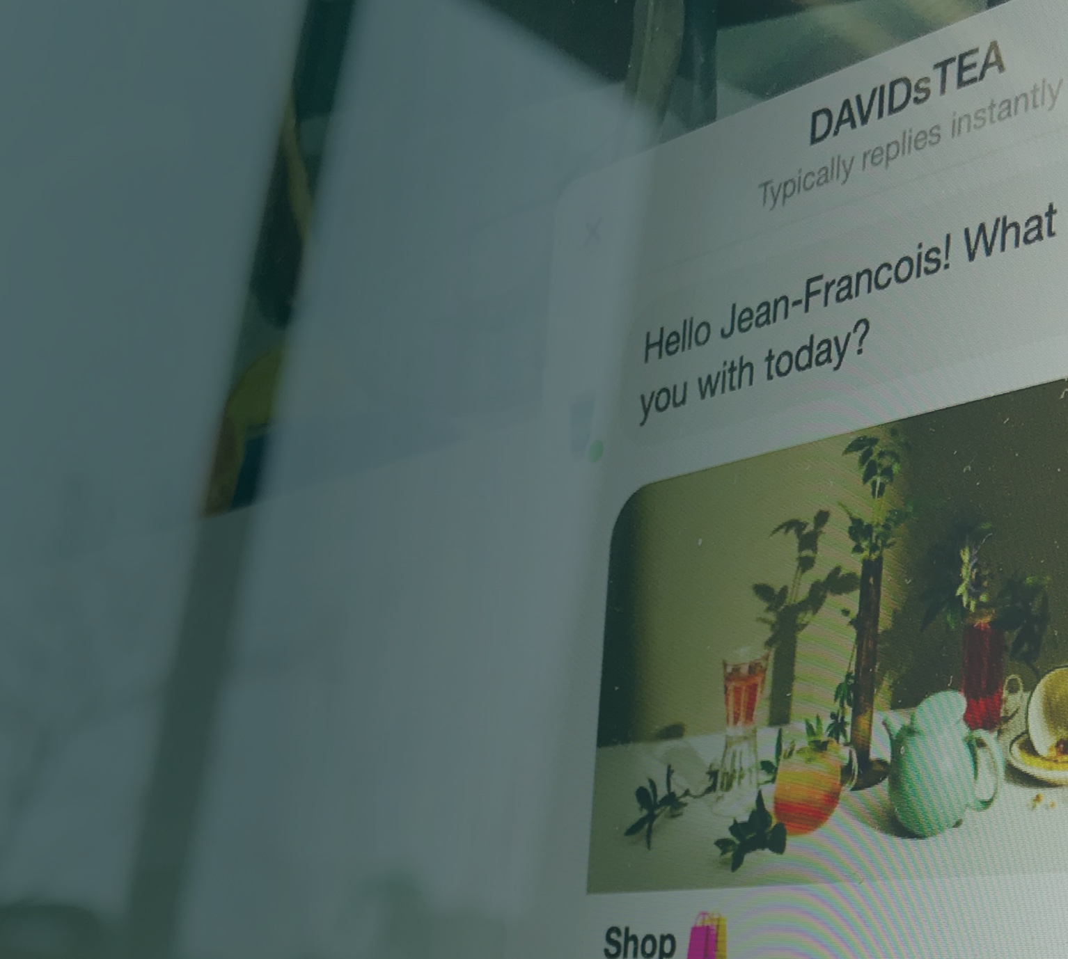 Computer screen with chat bot messenger recommending wellness teas and teaware.
