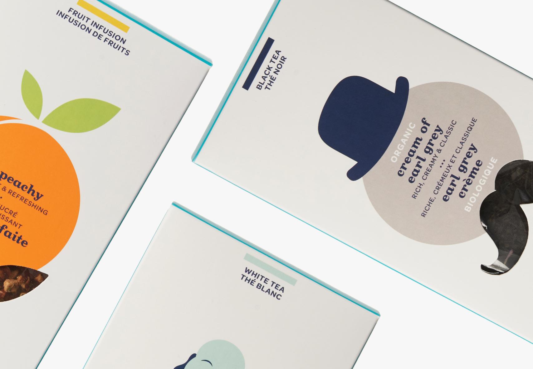 Boîte à sachets de Pêche parfaite, Earl grey crème biologique et Bienheureux Bouddha.