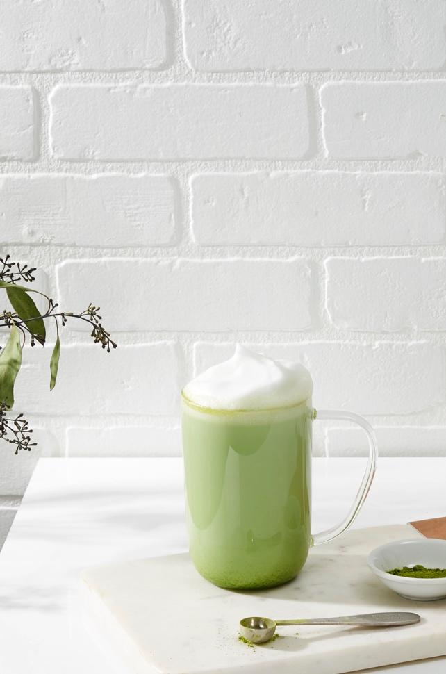 A Nordic mug filled with matcha.
