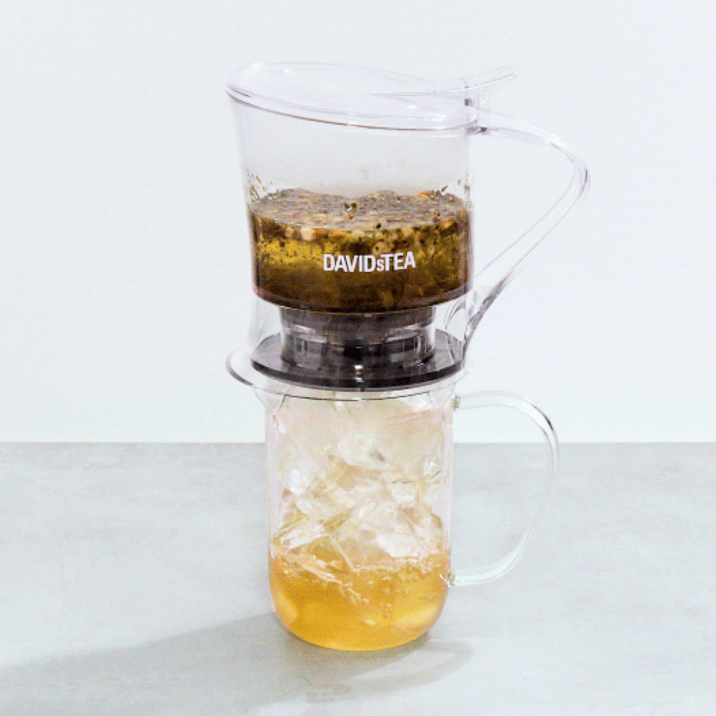 A Perfect Infuser placed over a glass Nordic Mug filled with ice.