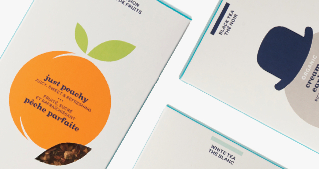 Sachet box of Just Peachy, Organic Cream of Earl Grey and Buddha's Blend.
