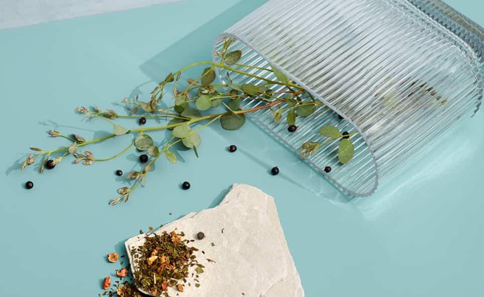 Un vase ondulé rempli de feuilles sauvages déposé horizontalement ainsi qu'un soupçon de thé placé sur une pierre grise.