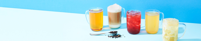 16 oz mug with hot tea, 16 oz mug with latte, 16 oz mug with iced tea, 16 oz mug with hot tea, 16 oz mug with iced latte.