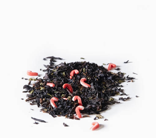 Candy Cane Crush loose leaf tea on a white background.