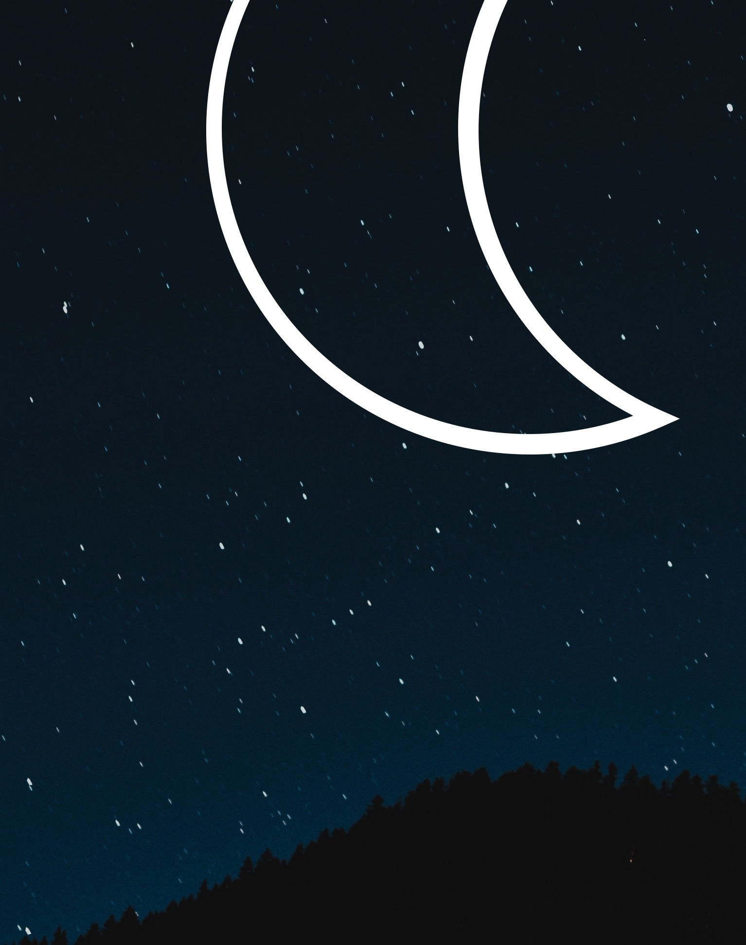 Star-speckled night sky, with the DAVIDsTEA's symbol for Sleep & Relaxation laid overtop.