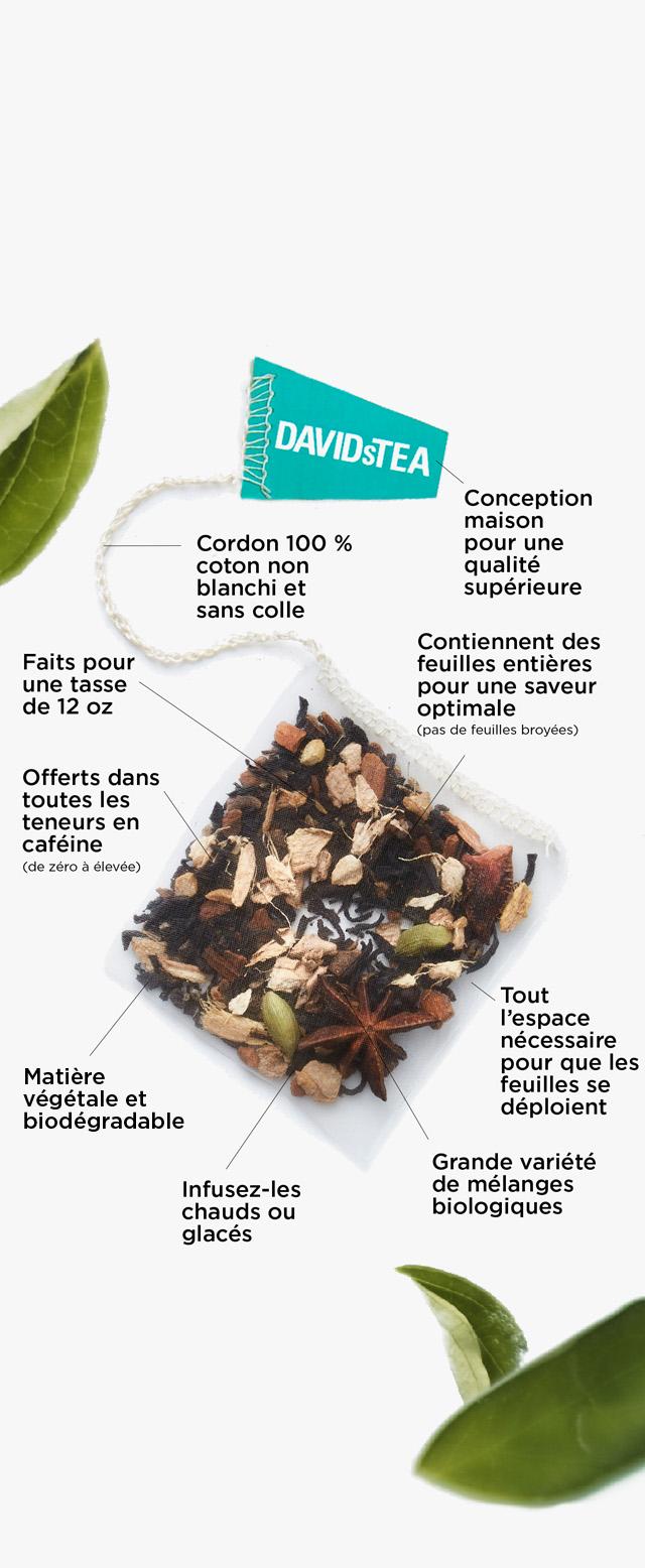 Conception maison pour une qualité supérieure - Faits pour une tasse de 12 oz - Infusez-les chauds ou glacés - Contiennent des feuilles entières pour une saveur optimale (pas de feuilles broyées) - Tout l'espace nécessaire pour que les feuilles se déploient - Matière végétale et biodégradable - Cordon 100 % coton non blanchi et sans colle - Grande variété de mélanges biologiques - Offerts dans toutes les teneurs en caféine (de zéro à élevée)