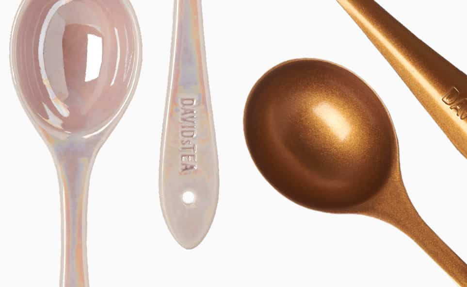 Zoomed-in view of a gold and pink Perfect Spoon.